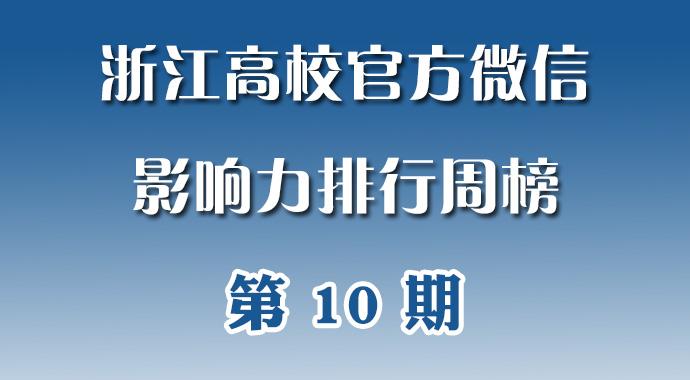 第10期:浙江高校官方微信影响力排行周榜