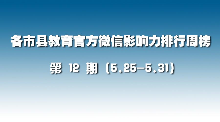 第12期:各市县教育官方微信影响力排行榜(5.25-5.31)