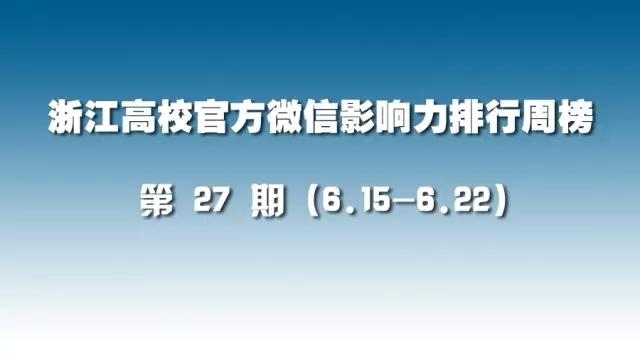 第27期:浙江高校官方微信影响力排行榜(6.15-6.22)