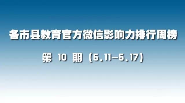 第10期:各市县教育官方微信影响力排行榜(5.11-5.17)
