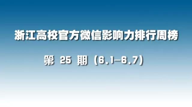 第25期:浙江高校官方微信影响力排行榜(6.1-6.7)