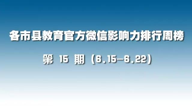 第15期:各市县教育官方微信影响力排行榜(6.15-6.22)