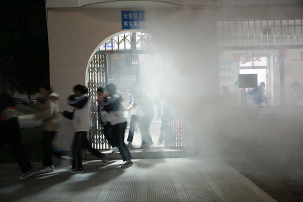 玉环市中等职技校举行消防逃生疏散演习
